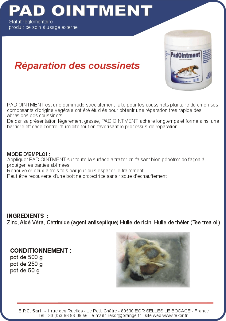 Padd ointment soins coussinets